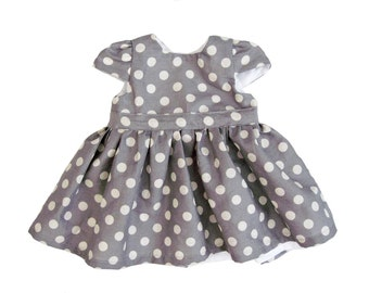 Baby Girl Dresses - Gray Polka Dot Baby Dress - Gray Baby Girl Dress - Dress for Baby Girl - Baby Party Dresses