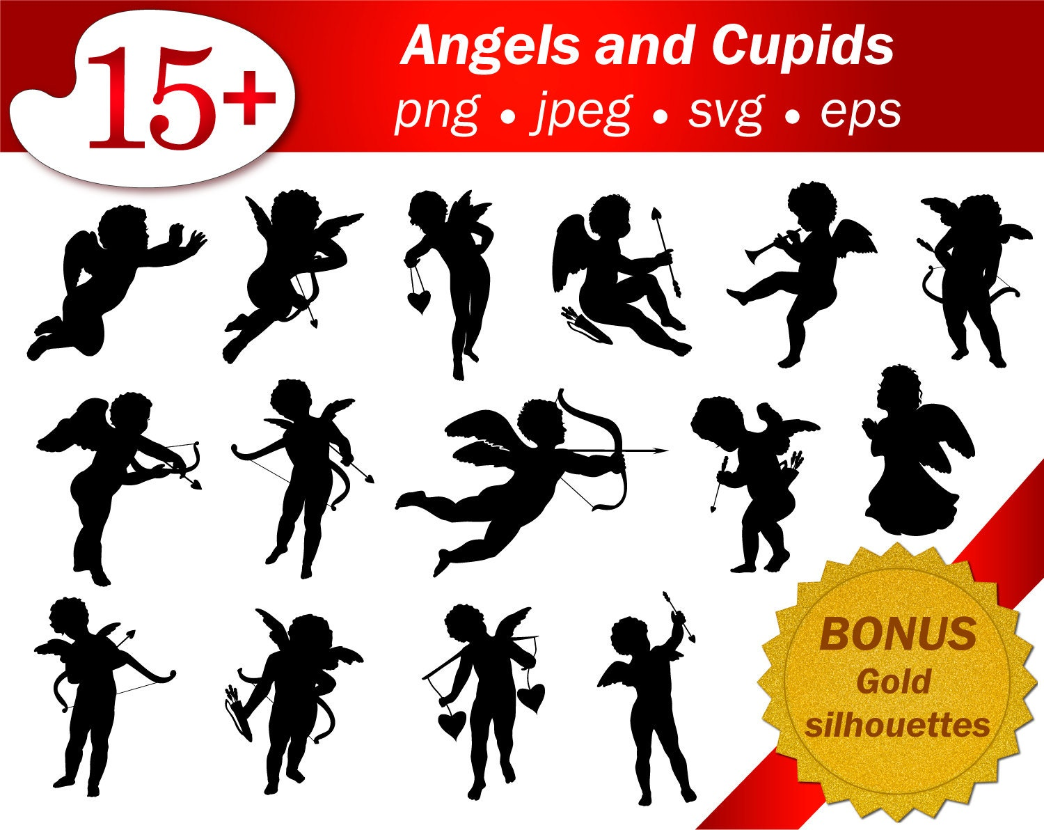 Angel heart arrow SVG silhouette Vintage clip art cameo Vector ...