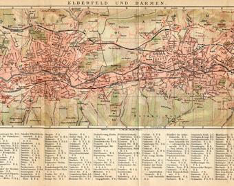 1905 Original Antique Dated City Map of Elberfeld and Barmen