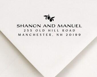 Fruit Address Stamp, Branches, Modern Type, Leaves Stamp, Envelope Addressing, Self Ink Stamp, Wedding Planning Stamp, Hand Lettered