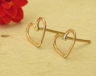 14K Red Gold Heart Earrings, Gold Heart Earrings,  Heart Post Earrings