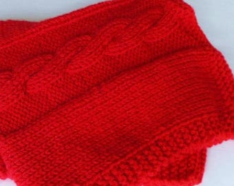 Scarlet Red Baby Blanket, Handmade Shower Gift, Hand Knit Warm Winter Cable Knit Afghan Throw, Boy Girl Toddler Child, Lap Blanket New