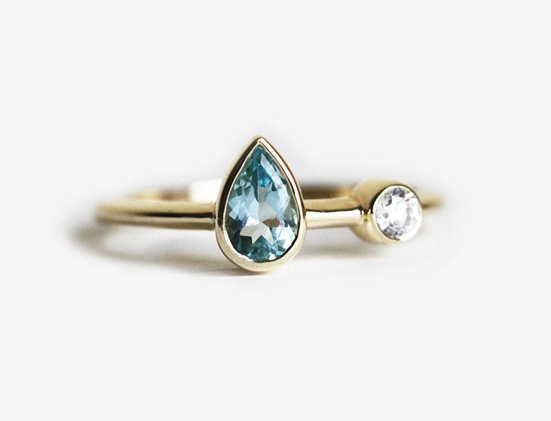 Unique Gold Aquamarine Ring Aquamarine Diamond Ring Aquamarine WR01