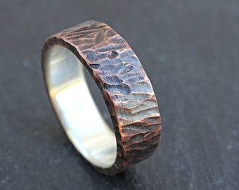 unique wedding band for men, viking ring mens promise ring wood structure, rustic mens ring mixed metal, mens wedding ring two tone