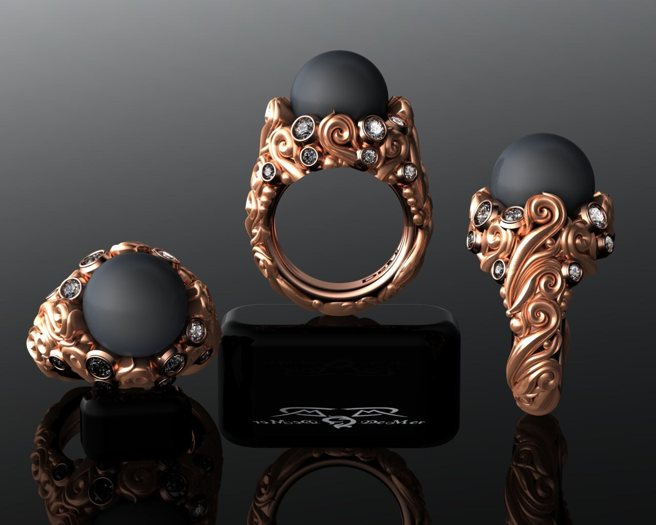 Relatively Tahitian Black Pearl & Diamond Heirloom Baroque Scroll VB36