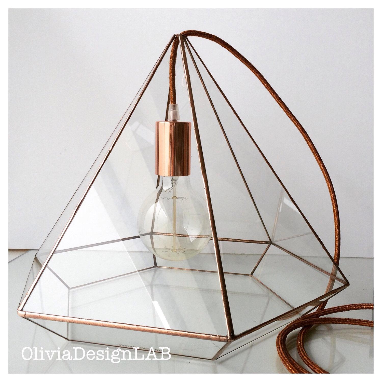 Verre diamant forme vitrail pendentif lampe sur mesure lampe for Ampoule suspendue
