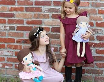 Big Sister Little Sister Custom Dolls - great for new baby gift to big sister.  18 and 15 inch doll made to look like your child - children