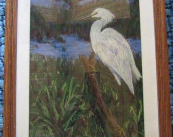 CHALK pastel drawing egret crane landscape  hand painted original c1990s  art home decor marsh bird