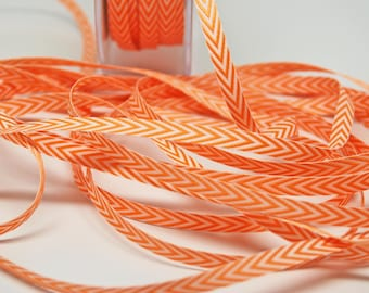 Striped Chevron Twill Ribbon -- 1/4 inch -- Dreamsicle Orange White