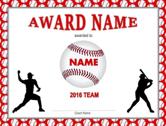 Printable baseball certificate player pack baseball like this item toneelgroepblik Image collections