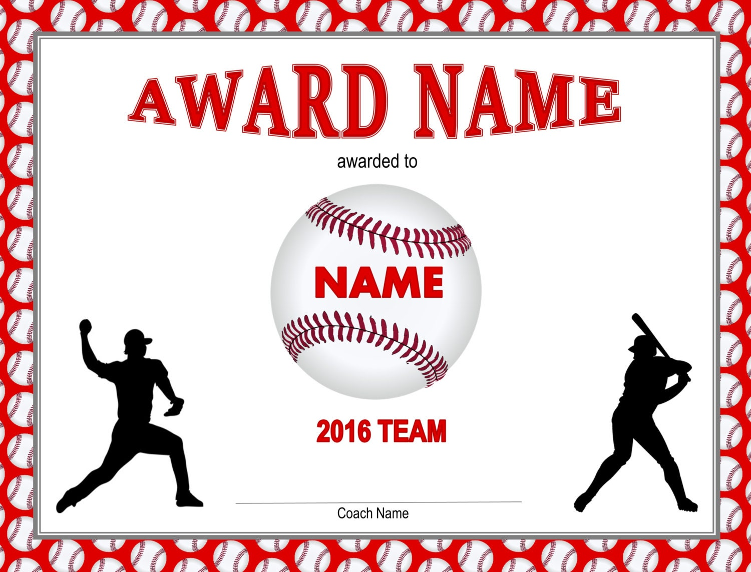 printable baseball certificate player pack baseball