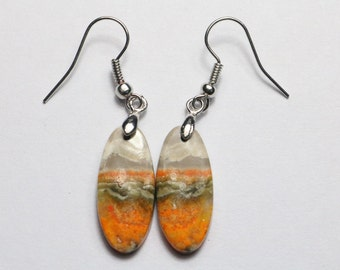 Bumble Bee Jasper Hand Made Earrings With Sterling Silver