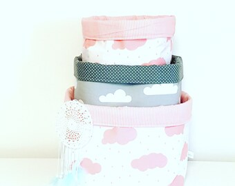 Pink and grey cloud fabric storage basket. Container, basket bin. Nappy basket, toy storage, nursery decor, kids room. Baby shower gift.