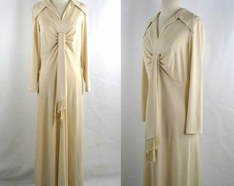1970s Ivory Empire Waist Maxi/Full Length Dress by Kay Windsor
