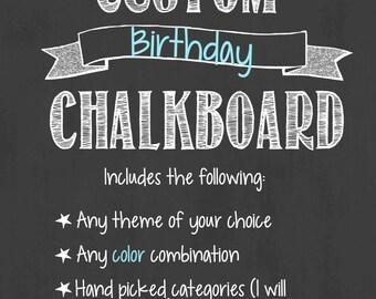 Custom Birthday Chalkboard/Custom First Birthday Chalkboard/Custom Birthday Board/Custom Chalkboard Design/First Birthday Chalkboard/Digital