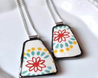You ComPlate Me - Matching Broken Plate Friendship Necklaces - Red Blue and Yellow - Recycled China