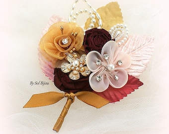Boutonniere,Corsage,Burgundy,Gold,Blush,Tan,Groom Boutonniere,Bridesmaids Corsages,Button Hole,Pearls,Crystals,Vintage Style,Elegant