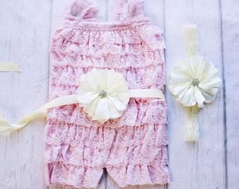Cake Smash Outfit, Lace Petti Romper, Pink Lace Romper, Petti Romper, Baby Romper, First Birthday Outfit, photo prop, Ruffle Romper