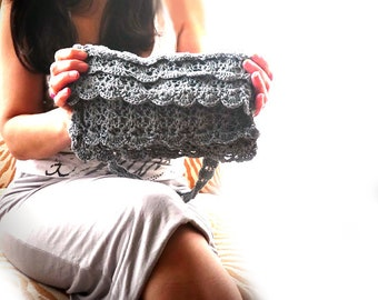 Lace crochet clutch - Ocassion ruffles crochet purse. Steel grey dinner clutch. Wedding crochet bag, silver purse, Formal clutch- Women gift