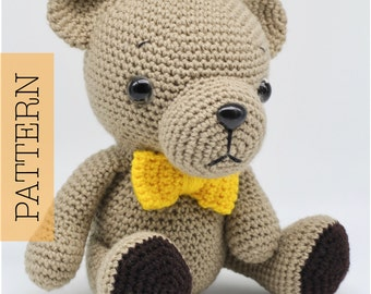 Crochet Amigurumi Teddy Bear PATTERN ONLY, Woodland Baby Bear, pdf Stuffed Animal Toy Pattern