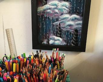 Narwal Himmel Acryl Kunst-abstrakte Malerei Wolken benutzerdefinierte gerahmt Dekor 11 x 14