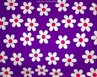 Daisy Print Indian Fabric By The Yard, Violet Large Floral Print Design Fabric, Indian Cotton Fabrics, Block Print Fabric For Tablecloth