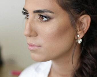 Bridal Gold Jewelry, Wedding Earrings, Gold Wedding Earrings, Ear Jackets, Pearl Wedding Earrings, Swarovski Crystal Earrings