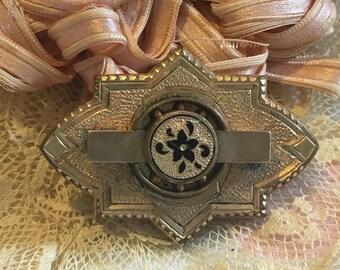 True Antique ~Edwardian ~Victorian Gold Brooch~Early C Clasp~Flower-Scarf-Jacket-Hat-Sweet!