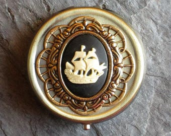 Pirate ship pill box, cameo pill box, nautical pill box, antique brass pill box, bronze pill box, bridesmaid gift, unique Christmas gift