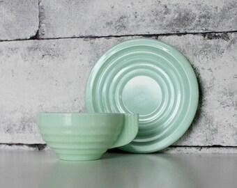 Art Deco French vintage Jadeite, Jadite Jade Green Milk Glass Tea, Coffee ONE cup and saucer
