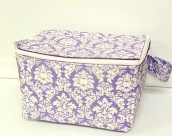Super Large 6 inch Depth Fabric Coupon Organizer  - With Zipper Closer  Mini Lavender Damask