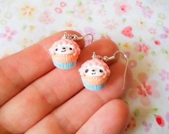 Sheep Cupcake Earrings, Cupcake Earrings, Kawaii Earrings, Cute Earrings, Pink Cupcake, Food Earrings, Dessert Earrings, Sweet Lolita