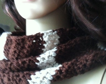Pattern Scarf wrap brown decorated with beige .