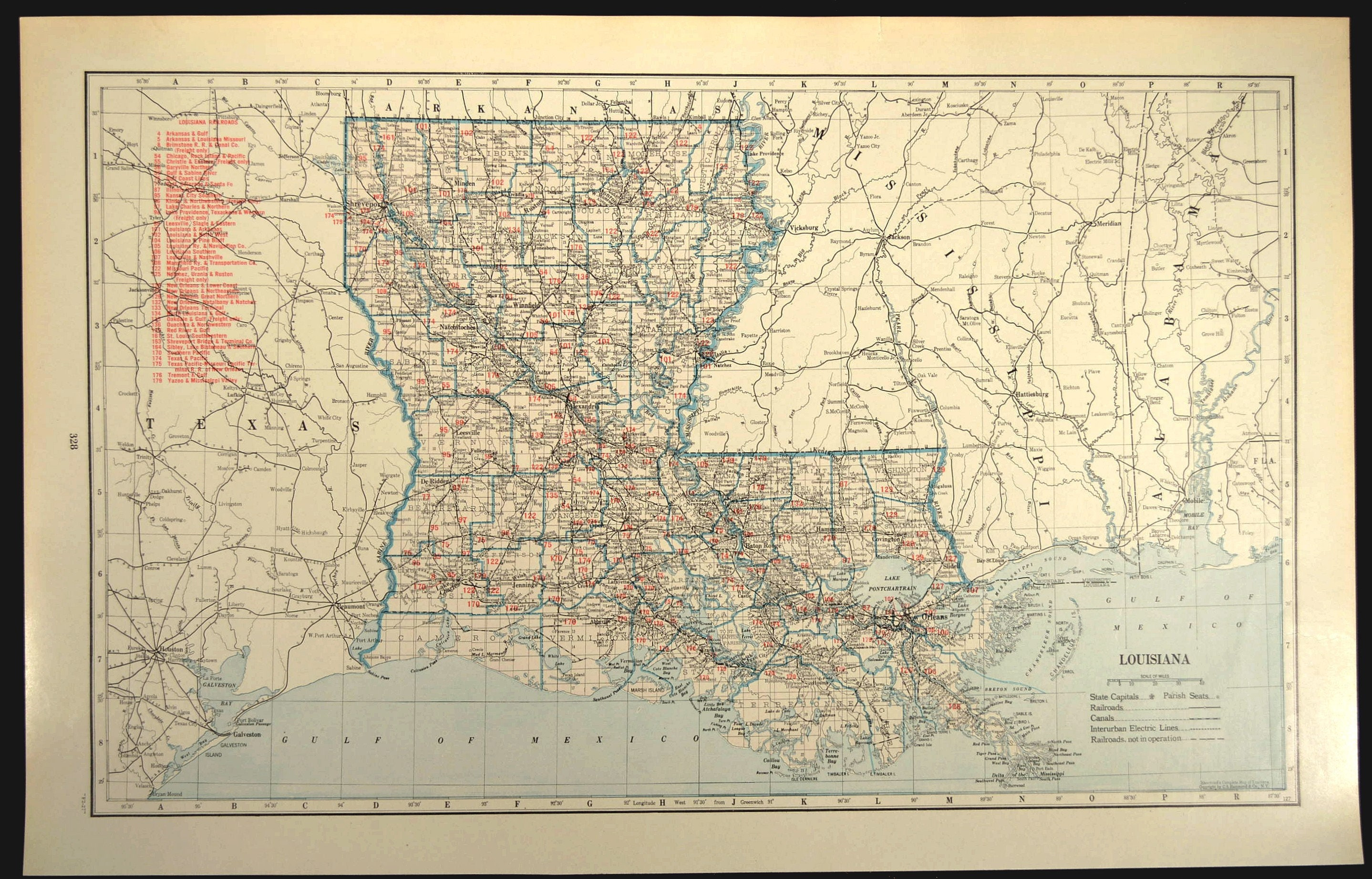 Louisiana Railroad Map LARGE Railroad Map Louisiana Wall Art