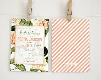 Vintage Botanical Flower Bridal Shower Invitation