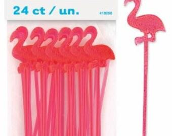 Flamingo Picks, Plastic Flamingo Picks, Drink Stirrer, Decoration, Pink Plastic Flamingo Pick Pkt 24