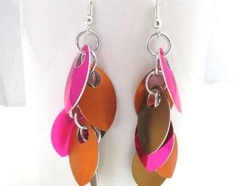 Boho Shaggy Leaves Scalemaille Earrings - Multicolored Scalemaille Earrings - Ready to Ship!