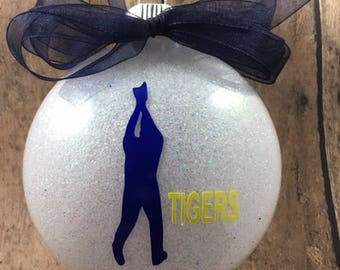 Personalized Baseball Outfielder/Player Glitter Christmas Ornament