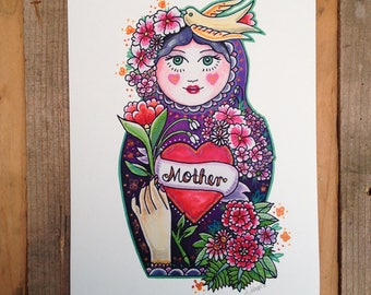 Mother Russian Doll, Mother's Day Gift, Art Print. A4 Watercolour Painting.