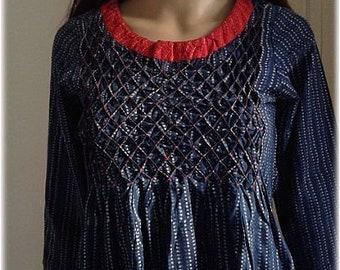 VINTAGE/Dress,Kurta,cotton,indigo blue,India,hand block print,S,Pintuck work,red,boho,gypsy,red,stripes,dots,pintuck work,Free Shipment