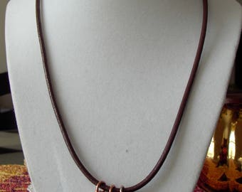 Brown Leather Necklace with Copper ChainMaille and Lampwork Beads