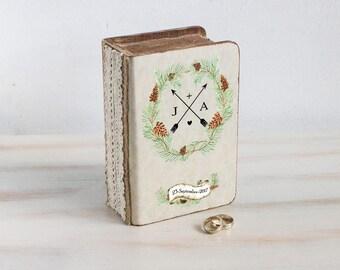 Fall Wedding Box Rustic Ring Bearer Box Personalized Ring Box wedding ring box Ring pillow Pine cone ring box Ring Holder Custom Ring Box