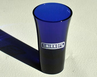 Vintage Blue Smirnoff Vodka Liquor Drinking Shot Glass