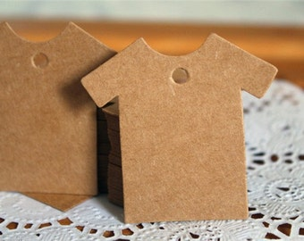 50 Blank T-Shirt Kraft Tags - Brown Paper Tags with String
