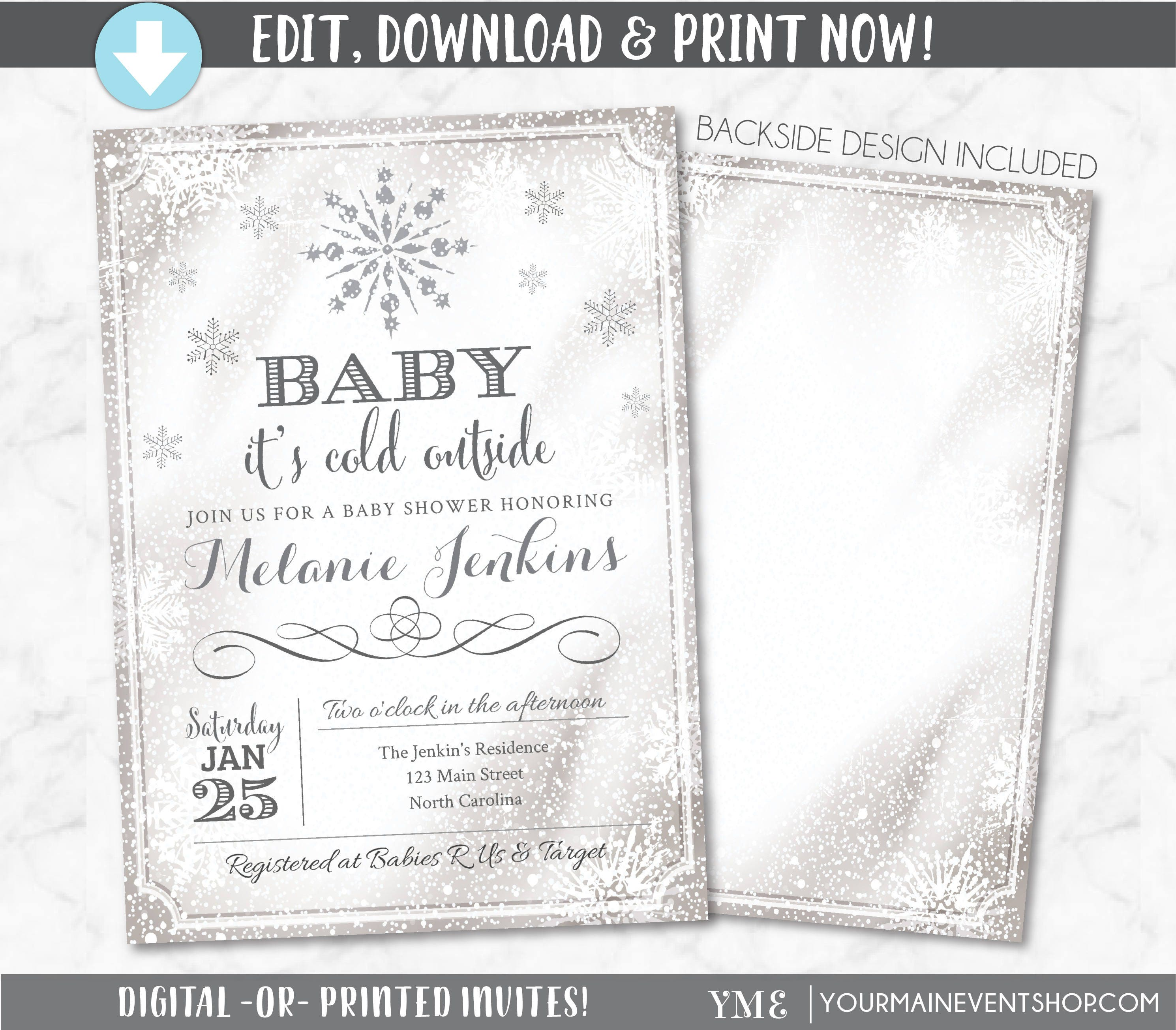Baby It\'s Cold Outside Invitation Snowflake Baby Shower