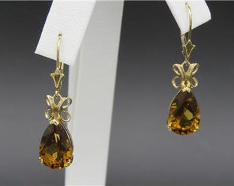 14k Yellow Gold 8.5ctw Honey Citrine Pear Drop Dangle Earrings
