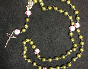 Green Beaded Rose Rosary