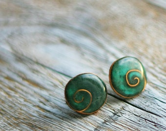 Post earrings - Forest green
