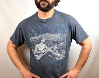 Vintage 1980s 80s Santana Tshirt Tee Shirt - Blues for Salvador 1988
