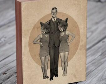 Foxy Ladies - Fox Art - Wood Block Art Print